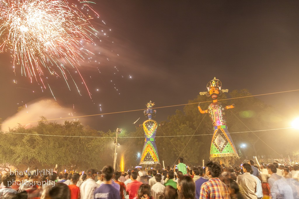Fireworks on Dussehra evening, as thousands of fans gather to witness the victory of good over evil