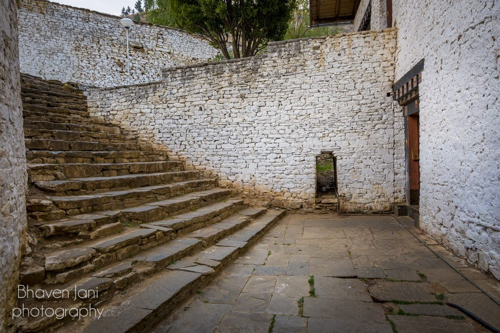 Bhutan musings: White washed stone buildings and the courtyard at Paro Dzong