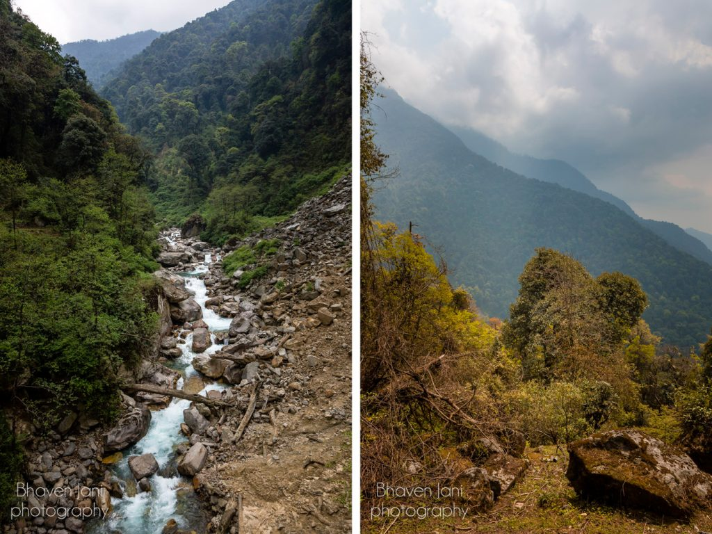 Gorgeous views of mountains and streams on the trekking trail to GoechaLa in Sikkim