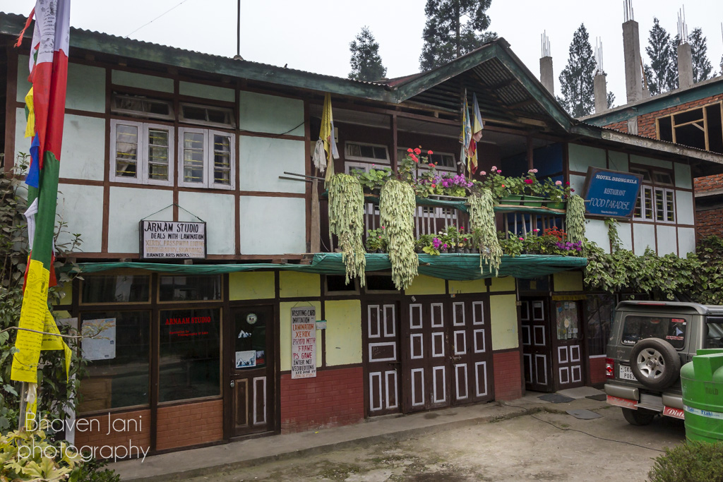 Restaurant and local shops in Yuksum, Sikkim