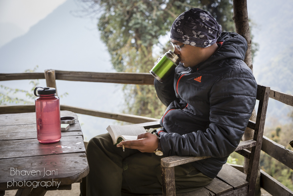 Enjoying a cup of coffee at the HMI camp in Bankim